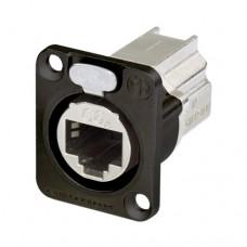 Neutrik Ethercon D-size - Doorvoerstekker in een D-vormige, zwart verchroomde metalen flens van met vergrendelingssysteem Zwart - NE8FDXP6B