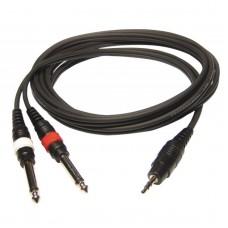 Audiophony CL-31/3  - 2x4mm 1 x Male stereo 3.5 Jack/ 2 x Male Jack - 3m